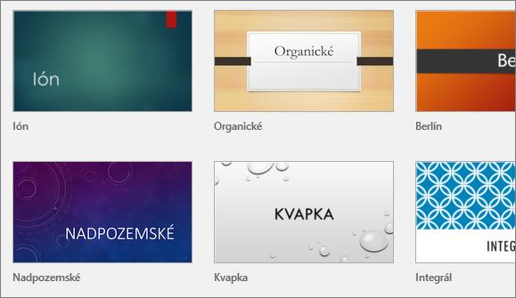 Zobrazia sa motívy v PowerPointe v časti Súbor > Nové