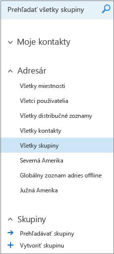 Priečinky a adresáre, ktoré sa zobrazia pri prehľadávaní Skupín v Kalendári pre Outlook na webe pre podniky