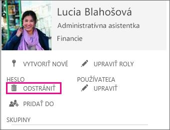 Snímka obrazovky zobrazujúca príkaz na odstránenie používateľa pri spravovaní služieb Office 365.