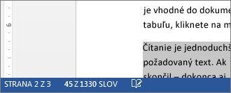 Stavový riadok znázorňujúci počet slov vo vybratom texte