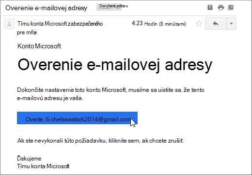 Overenie e-mailovej adresy