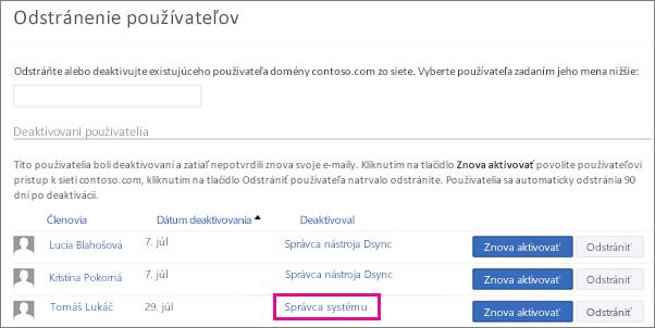 Snímka obrazovky zobrazujúca používateľa odstráneného správcom systému.
