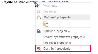 Kliknite pravým tlačidlo myši na ponuku, Odstrániť hypertextové prepojenie