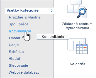Kliknutie na kategóriu a výber požadovanej aplikácie zo zoznamu