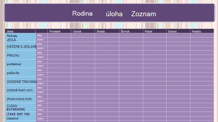 Obrázok šablóny zoznamu rodinných úloh
