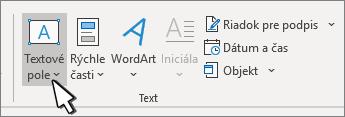Tlačidlo Vložiť textové pole