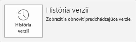 Tlačidlo pre históriu verzií vnútri stránky s informáciami