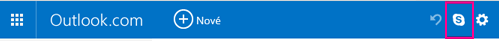 Tlačidlá Skype v klasickom používateľskom prostredí služby Outlook.com