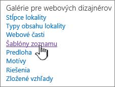 Prepojenie na šablóny zoznamom na stránke nastavení lokality