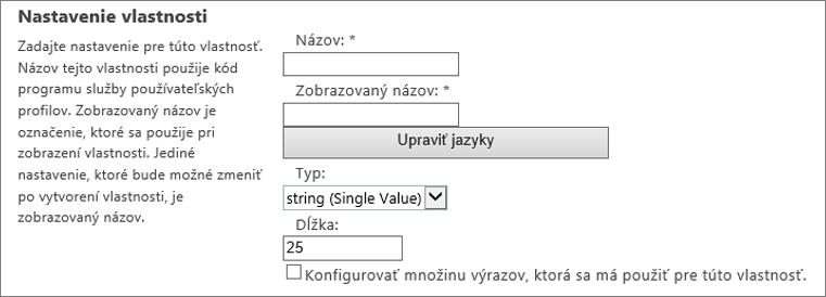 Nastavenie vlastností v časti používateľského profilu v správcu