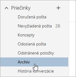 Snímka obrazovky s priečinkom Archív