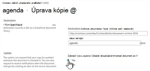 Kliknite na tlačidlo Áno v riadku autor odošlite aktualizácie, keď je začiarknuté dokument sekcie