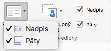 Snímka obrazovky zobrazuje možnosti názvu apiat , ktoré sú kdispozícii vskupine Rozloženie predlohy.