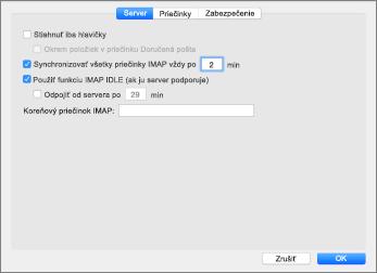 Nastavenie konta servera programu Outlook 2016 Mac IMAP