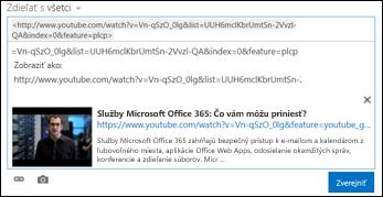 Video z lokality YouTube prilepené do príspevku informačného kanála s aktualizáciami