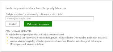 Snímka obrazovky dialógového okna Pridanie používateľa ktomuto predplatnému.