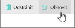 Zvýraznené tlačidlo obnovenia vSharePointe Online