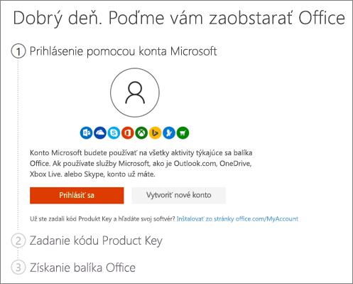 Zobrazuje úvodnú stránku pre setup.office.com