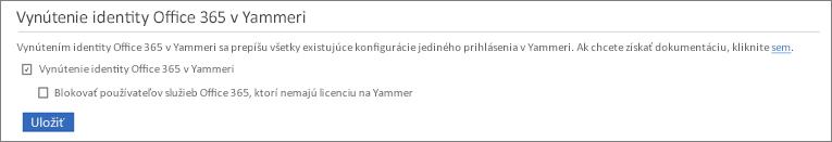 Snímka začiarkavacieho políčka Blokovať používateľov služieb Office 365 bez licencií na Yammer vnastaveniach zabezpečenia služby Yammer