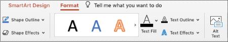 Tlačidlo alternatívny text na páse s nástrojmi grafického prvku SmartArt v PowertPoint pre Mac.