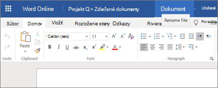 Zmena názvu dokumentu Wordu Online kliknutím na záhlavie okna