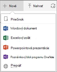 Vytvorenie nového priečinka alebo dokumentu v službách Office 365