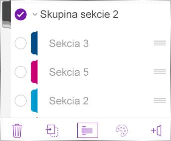 Premenovanie skupiny sekcií vo OneNote pre iOS