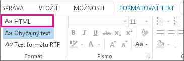 Možnosť formátu HTML na karte Formátovať text v správe
