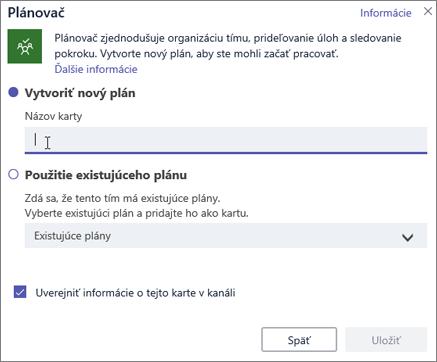 Snímka obrazovky s dialógovým oknom Karta Planner v aplikácii Teams