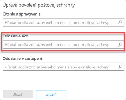 Snímka obrazovky: Umožniť inému používateľovi odoslať e-mail ako daný používateľ