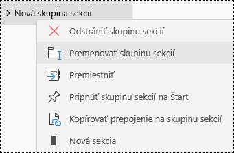 Premenovanie skupín sekcií v aplikácii OneNote pre Windows 10