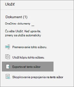 Exportovať tento súbor