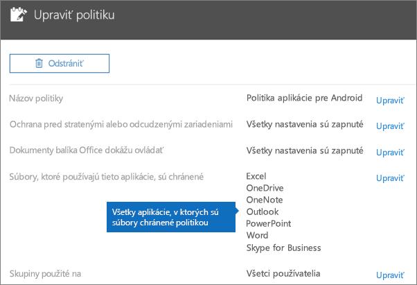 Zobrazia sa všetky aplikácie, pre ktoré táto politika chráni súbory.