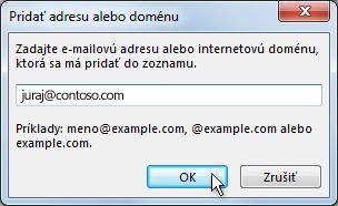 Dialógové okno Pridanie adresy alebo domény