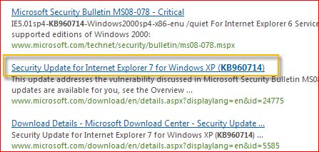 Centrum sťahovania softvéru automaticky vyhľadá všetok obsah súvisiaci s poskytnutým číslom aktualizácie. Na základe operačného systému vyberte položku Aktualizácia zabezpečenia pre Windows XP.
