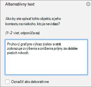 Dialógové okno Excel 365 napíšte alternatívny Text pre kontingenčné grafy