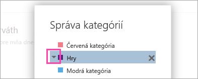 Snímka obrazovky na šípku vedľa kategórie