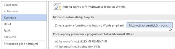 Prístup kdialógovému oknu Automatické opravy