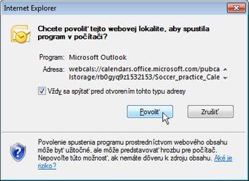 Povoliť webovej lokalite otvoriť dialógové okno programu