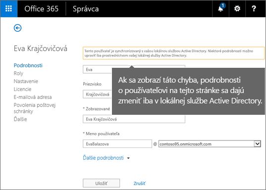 Chyba, pri ktorej sa podrobnosti opoužívateľovi dajú zmeniť iba vActive Directory