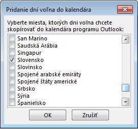 Dialógové okno Výber krajiny alebo oblasti
