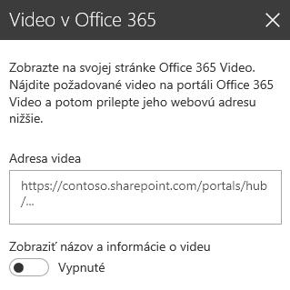 Snímka obrazovky dialógového okna s adresou videa v službách Office 365 v SharePointe.