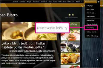 V zostavovači webovej lokality služby GoDaddy vyberte položku Site settings (Nastavenie lokality)