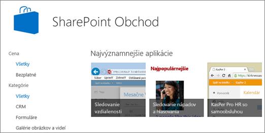 Zobrazenie výberu aplikácií v SharePoint Obchode