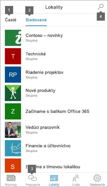Na karte lokality SharePoint mobilnej aplikácie pre iOS