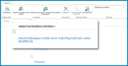 Snímka obrazovky pása s nástrojmi v externom zobrazení služby BCS v SPO.