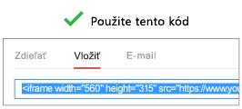 Ak chcete, aby tento proces fungoval správne, kód, ktorý používate pri vkladaní videa, musí začať výrazom iFrame alebo <objekt.