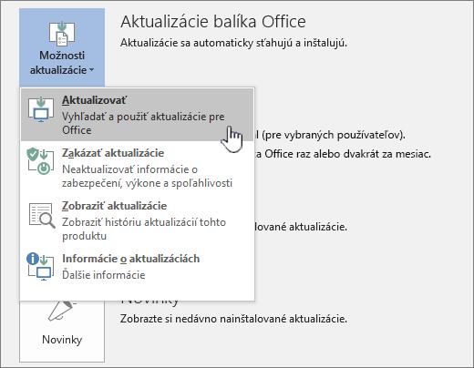 Tlačidlo získať aktualizácie insiderov pre Office