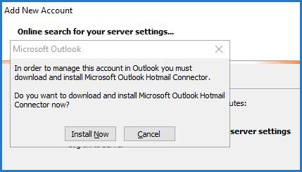 Výzva doplnku Outlook Hotmail Connector