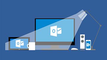Titulná stránka s informačnou grafikou o Outlooku s lampou svietiacou na obrazovku, na ktorej sa zobrazuje logo Outlooku